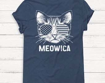 Meowica - 4th of July Shirt - USA - America - Cat - Pets - Animals - Independence - Tank Top - Patriotic - Alcohol - Graphic Tee - Summer