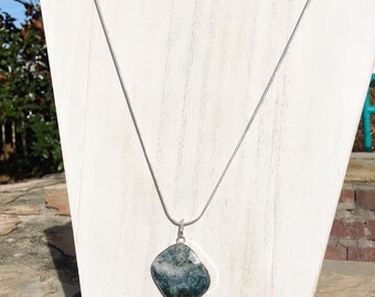 """Moss agate pendant with 925 sterling silver 24"""" rope chain necklace, moss agate necklace, moss agate pendants"""