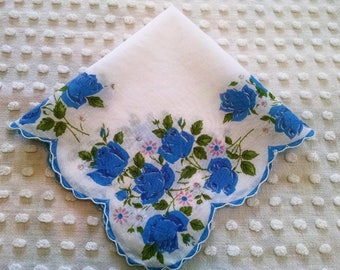 Beautiful Blue Roses Vintage Floral Hankie Handkerchief Pink Flowers Tears of Joy Hanky Wedding Favor Shabby Cottage Chic Scalloped Edge
