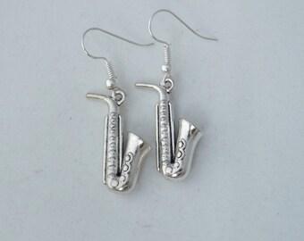 Saxophone earrings, musical instrument earrings, gift for her, stocking filler, sterling silver earrings, music student or teacher gift