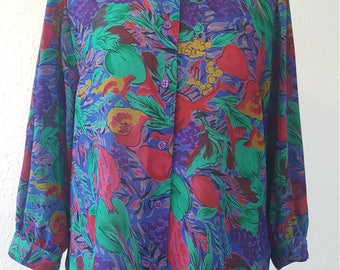 1980s Chris B blouse•vintage blouse•1980s fashion•multicoloured blouse•ladies top•womens top•UK 10/12•US 8/10