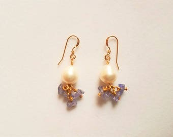 Cultured Pearl and Tanzanite Earrings with 14K Gold Filled Earwires
