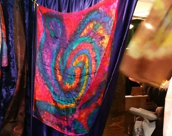 Hand-Painted Silk-Scarf red, pink, purple, rainbow, unique original woman's scarf. Wearableart shawl.  Wrap. Sarong