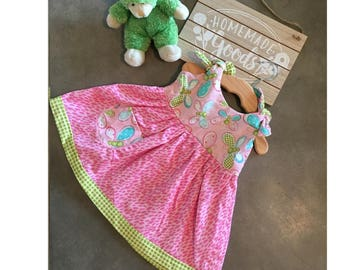 Butterfly's & bows pink sundress