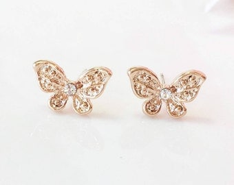 Butterfly Earrings,Gold Butterfly Earrings, Butterfly Studs, Gold Stud Earrings, Nature Spring Jewelry, Butterfly Post Earrings,Gift for her