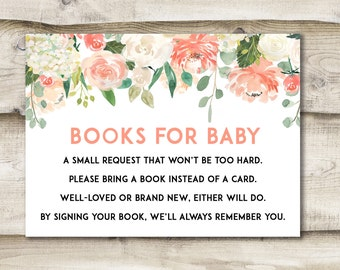 Books for Baby, Baby Shower Book Request Card, Floral Book Request, Bring A Book Instead of A Card, Books For Baby Insert