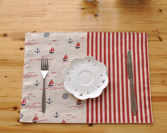 Set of 2 Premium Handmade Placemats Napkin Cotton Rectangle Mediterranean Dining Table Cloth - Red White - Linen Fabric Print Kids