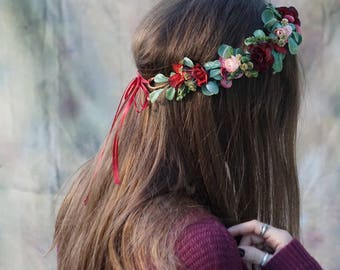 Flower crown wedding, burgundy floral crown, blush flower crown, greenery maroon crown, greenery flower crown, bridal flower crown wedding