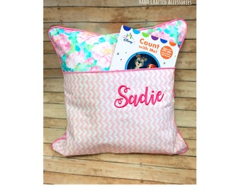 Reading Pocket Pillow, floral Pillow, Girls Pink Pillow, kids, Princess, Girl's Bedroom, Travel Pillow, Girls bedding, reading pillow