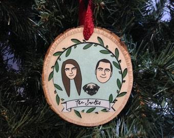 Custom Portrait Ornament, Personalized Ornament, Family Ornament, Couple Portrait Ornament,Custom Illustration Ornament