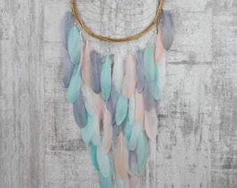 Long Blush, Mint and Gray Feather Dreamcatcher - Color Choice - Boho Girls Boys DreamCatcher Wall Hanging Decor Crib Baby Feathers nursery