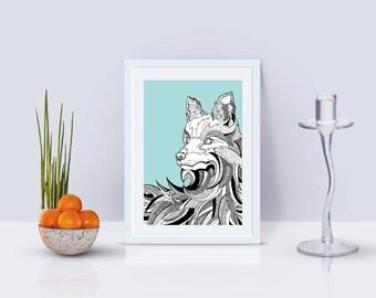 Fox + Wave Print