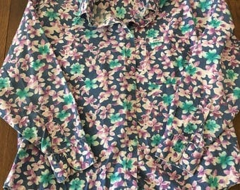Chic floral print shirt 90's shirt Floral Western Button Up Saved By The Bell School Shirt Women's Small Women's Medium