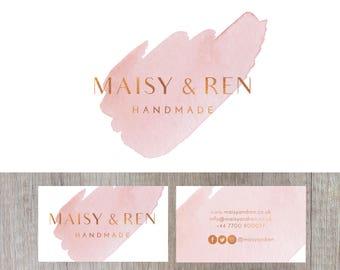 Pink Logo Design, Pink Branding, Watercolour Logo, Craft Logo, Small Business Logo, Watercolour Business Card, Custom Logo, Premade Logo
