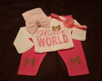 Hello World, Onesie/Pants/Cap or Gown/Cap Baby Girl Set, Perfect For Baby Shower or Coming Home Outfit