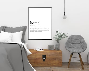 Home || Printable Wall Art, Printable Quote, Downloadable Print