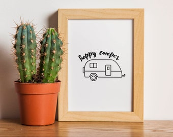 Happy Camper || Printable Wall Art, Printable Quote, Downloadable Print