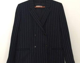 Striped blazer / vintage blazer women / oversized blazer / navy blazer women / 80s blazer / double breasted blazer / double breasted 80s /
