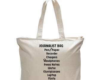 JOURNALIST BAG, Messenger Bag, Gift for Writer, Journalist Tote Bag, Journalist Gift, Journalism Gift, Graduation Gift, Work Tote Bag, Totes