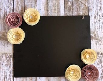 Decorative Chalkboard - Girl's Room Decor - Hanging Chalkboard - Peach Paper Flower Chalkboard - Yellow Paper Flower Chalkboard -