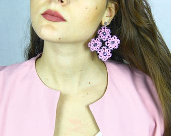 Pink earrings in tatting ankars//gifts for her//gifts//Accessories for her//gift ideas