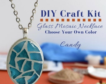 Jewelry Making Kit, Glass Necklace Activity, Gift under 15, DIY Necklace Kit, Your Choice of Candy Colored Glass, Silver oval pendant