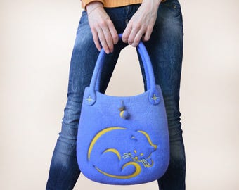Blue Shoulder Handbag, Hand Felted Bag with Moon Yellow Cat