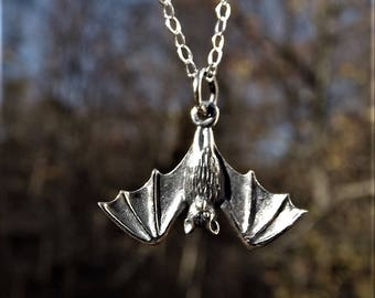 Bat Necklace - Sterling Silver Bat Necklace - Hanging Bat Necklace - Sterling Silver Hanging Bat - Halloween Necklace - Sterling Halloween