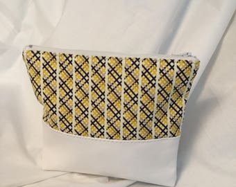White leatherette makeup bag, brown yellow fabric square