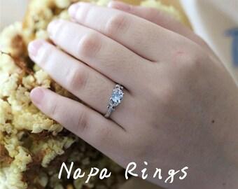 Solid 14K White Gold Aquamarine Engagement Ring 5mm Round Cut Natural Aquamarine Ring March's Birthstone Ring Bridal Ring Vintage Ring