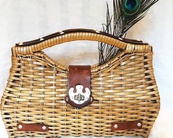Vintage 70s Donna Woven Basket Handbag Leather and Metal Clasp Hippie Boho Gypsy