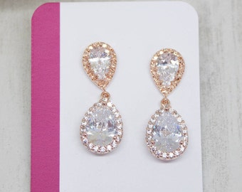 Earrings rose gold drops crystal wedding bridal Bridal jewelry