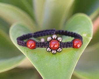 No. 7 Carnelian, Hematite and Sterling Silver Macrame Style Bracelet (Handmade)
