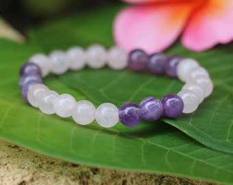 No. 30 Rose Quartz & Amethyst Stretch Bracelet