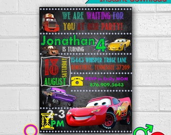 Cars invitation,Cars Party, Cars Birthday Party invitation, Cars Printables Decor, instant download