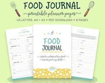 Food Journal, Meal Planner, Foodie Gift, Food Diary, Food Tracker, Daily Food Journal, Habit Tracker, Health Planner, Goal Planner
