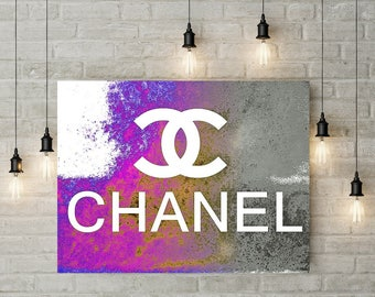 Chanel Canvas, Limited Edition, Purple Grey Chanel Painting, Gallery Wrapped Canvas, Coco Chanel Logo Decor, Designer Wall, Fashion Pop Art