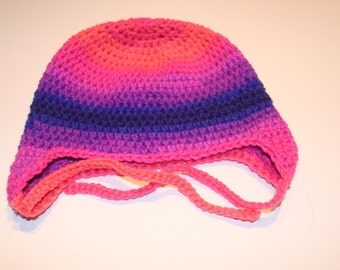 Crochet Ear Flap Hat Child Size 4-10 Years Bright Multicolor