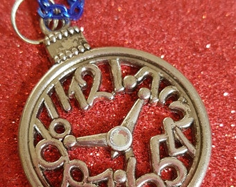 Clock/Pocket Watch Pendant and Chain. Necklace