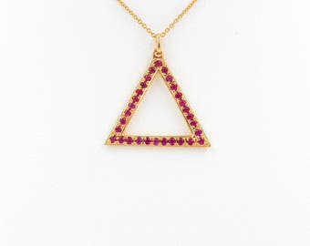 Triangle Pendant necklace,Necklaces,Cable chain necklace,Necklaces with Rubies,Pendant Necklace,Triangle Pendant necklace,14k Gold Necklaces
