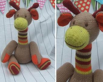 Cuddly TOY GIRAFFE - KNITTED Giraffe Toy - Baby's First birthday Toy - Baby Shower gift - New baby soft toy - Christening gift keepsake