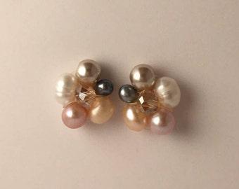 Pearls and Crystals Stud Earrings, Pearls Earrings, Stud Earrings