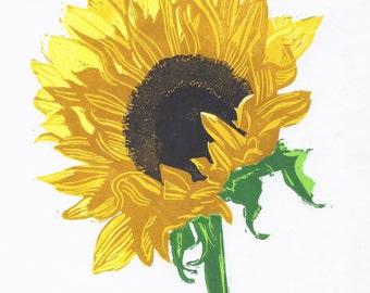 Sunflower Lino Print