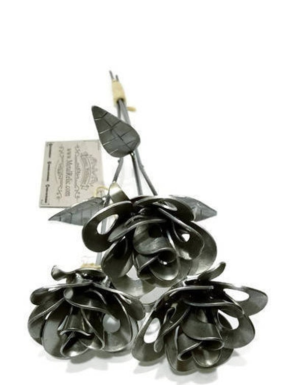 Three Metal Steel Forever Roses created by Welding Scrap Metal Steampunk Style making Unique Gifts and Home Decor!