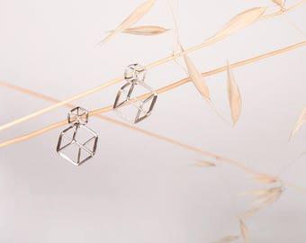 Earrings cube n3. Silver 925ml