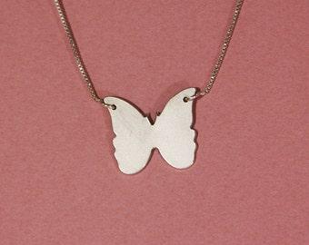 Butterfly necklace sterling silver Butterfly pendant necklace Butterfly charm necklace engraved butterfly necklace