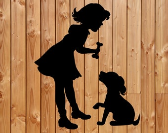 Vinyl Decal, Girl with a dog vinyl decal, Box frame decal, Family decal, Wine bottle decal, Cute decal, Dog Decal, Little girl decal, child