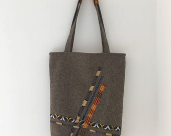 Reversible Tote Bag in Ankara & Felt #1