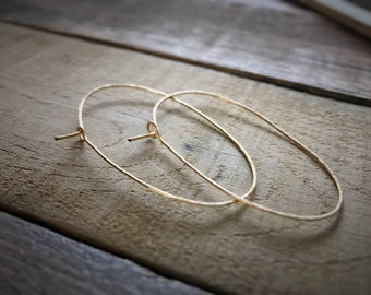 Gold Oval Hoop Earrings / Hammered Oval Hoop Earrings / Thin Gold Hoop Earrings