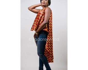 Silk ankara high low blouse / Ankara clothing / African clothing / African high low blouse / Ankara maxi dress / Silk ankara dress